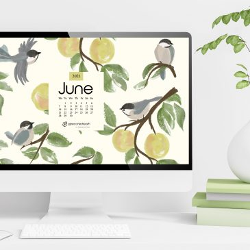 Joni Mitchell's Timeless Environmental Anthem + June 2021 Free Calendar Wallpapers Illustrated – Apple Tree & Chickadees