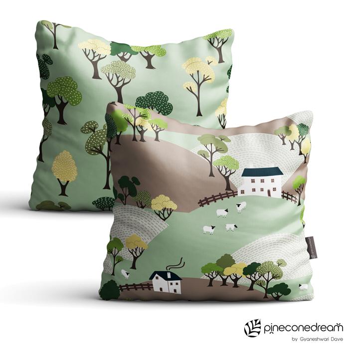 Trees, village, hills throw pillow