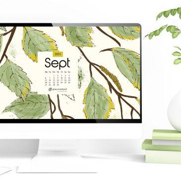 A River Birch Tree In September + Sept 2021 Tech Calendar Wallpapers & Planner, Illustrated