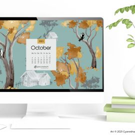 October 2021 Desktop calendar wallpaper free